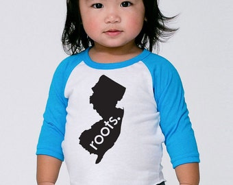 New Jersey 'Roots' or 'Made' Baby Toddler Kids Poly Cotton 3/4 Sleeve Baseball Shirt - Baby Shirt