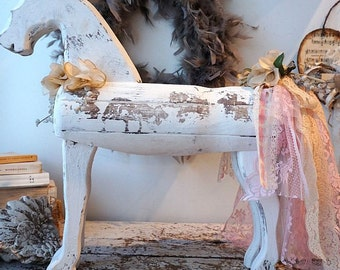 White distressed wooden horse shabby cottage chic popular primitive embellished lace tail antique millinery flowers decor anita spero design