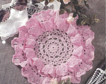 Cotton Candy Doily Crochet Pattern, Lacy Doily, Table Topper, Home Decor, Centerpiece, House of White Birches