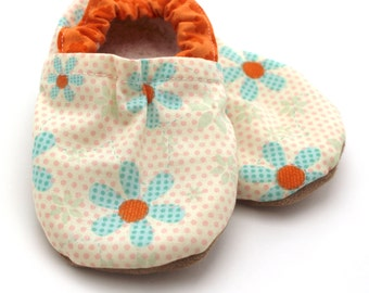 flower baby shoes orange and blue flower shoes for baby soft sole shoes yellow and orange baby girl shoes vegan shoes flower baby clothing