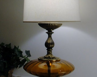 ON SALE! Gorgeous Large Amber Glass and Brass Lamp