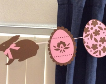 Chocolate bunny banner, easter, spring, rabbit, easter egg, chocolate bunny, easter decoration, spring decor, bunny, chocolate, mantle