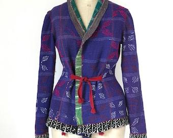 kantha quilt jacket, kantha jacket,  reversible kantha jacket - size small