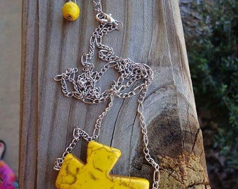 Sideways howlite cross necklace