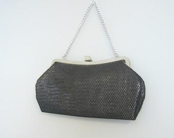 Vintage BLACK La MARQUISE HANDBAG/Black and Silver Handbag/Clutch