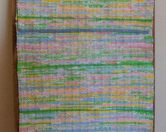 """Hand Woven Rag Rug - Blue Pink Green Yellow Cotton Runner 22"""" x 62"""""""