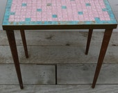 Mid Century Mosaic Tile End table / Side Table / Plant Stand / Accent Table