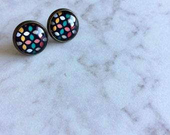 Geometric Print Post Earrings