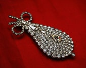 Rhinestone Brooch with Ice Crystal clear bling pin