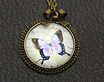 Necklace purple butterfly 2525C