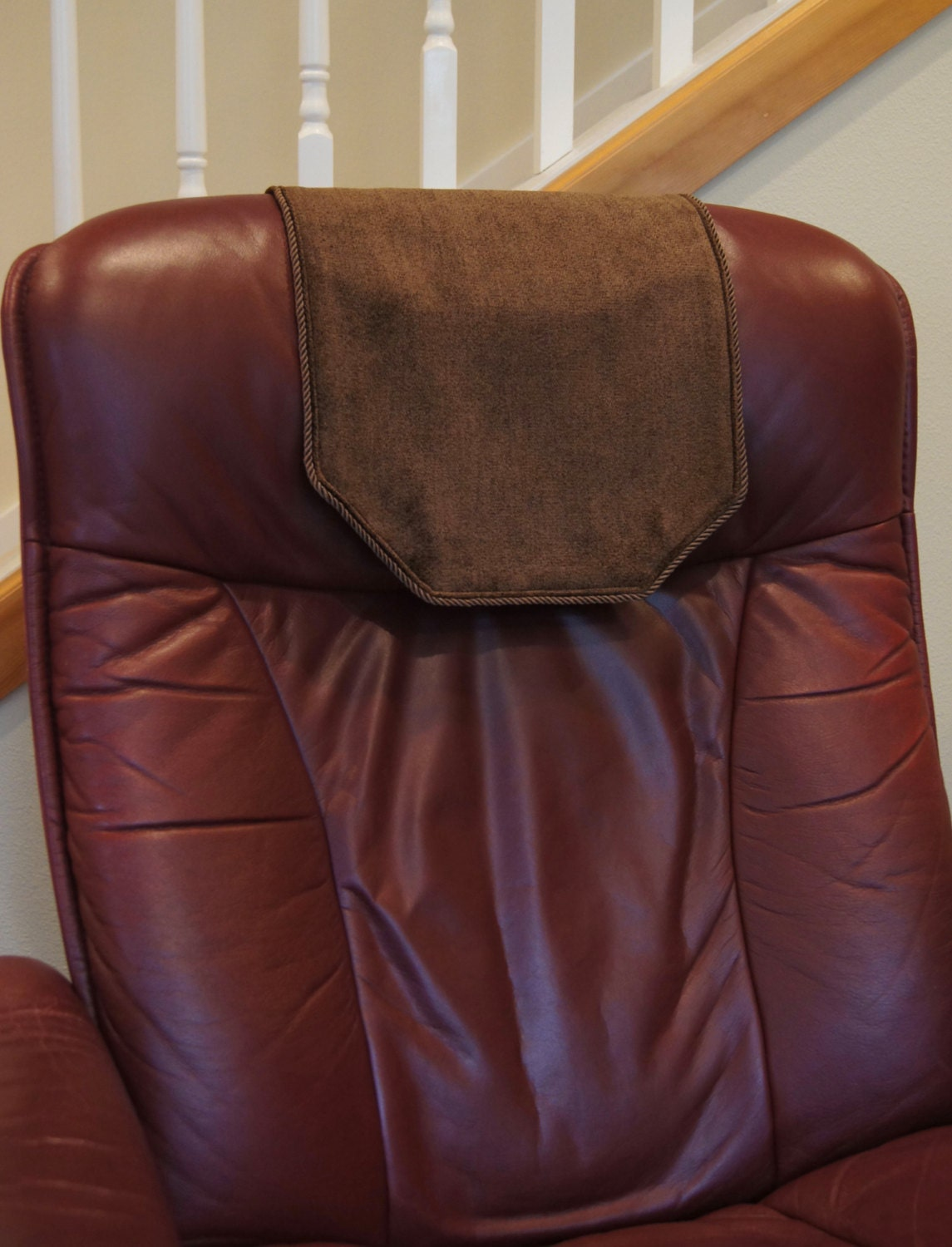 recliner chair headrest cover chocolate brown by chairflair