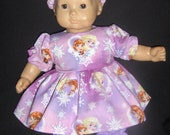 "Purple Frozen Anna & Elsa Dress, Panties and Headband Doll Clothes Made to Fit Bitty Baby and other 15"" Dolls B"