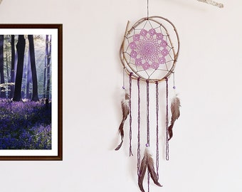Dream catcher, purple, brown, black, large dreamcatcher, crochet doily, room decor, nature, handmade, boho bedroom, boho dreamcatcer, unique
