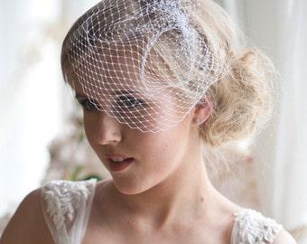 Birdcage veil, Bridal birdcage veil birdcage fascinator, Ivory birdcage veil, Wedding veil, Bridal head piece