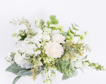 Romantic Wedding Bouquet - Cream and Green Bouquet, Silk Flower Bouquet and Wooden Flower Bouquets