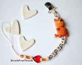 Pacifier chain with name,Beaded pacifier clip,soother Pacifier holder,Personalized Dummy clip,Baby Fox,Orange Custom pacifier,Car seat toy,
