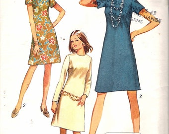 Vintage 1971 Simplicity 9072 Misses Jiffy Dress Sewing Pattern Size 18 Bust 40""