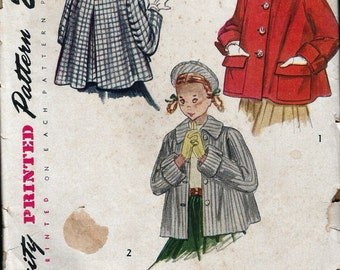 """Vintage 1950's Simplicity 3147 Girl's Coat or Topper & Beret Sewing Pattern Size 7 Breast 25"""" UNCUT"""