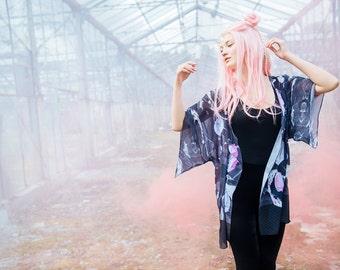 Marble Flowers - chiffon kimono