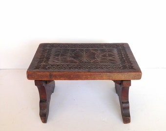 Antique Carved Wood Stool, Small Antique Wooden Stool with Ornate Carving, Floral Carved Stool, Antique Carved Foot Stool