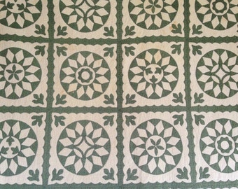 Antique Quilt, Green and White Applique Quilt, Green Calico Fabric, Vintage Handmade Quilt, 4 Different Style Blocks, Handstitched Quilt
