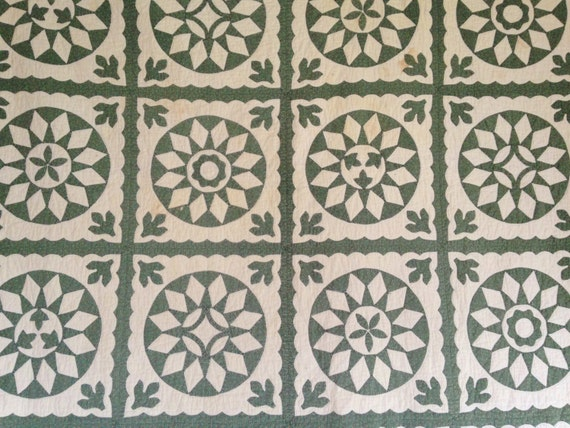 Green and White Applique Quilt