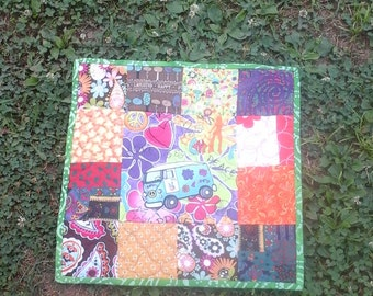 Mini Hippie Quilt, Table Topper, Quilted, Hippie Bus, Table, Center Piece