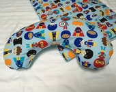 Baby Play Mat Pillow Tummy Time Padded Pillow Prop Up Bolster Comfort Super Heros Blue Shower Gift Daycare Newborn Infant Accessories