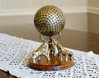 Brass Elephants Holding Studded Sphere Ball, Made in India - MidCentury Decorative Statue on Wood Base - Vintage Home Decor