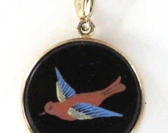 Victorian Enamel Bird Charm Pendant Necklace