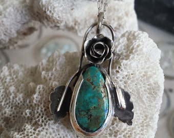 Sterling Silver Natural Turquoise Rose Necklace