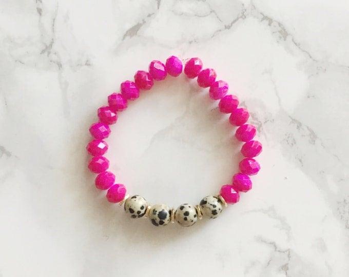 Hot Pink Beaded Bracelet