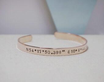 Coordinates Jewelry - Hand Stamped - Metal Bracelet - Cuff