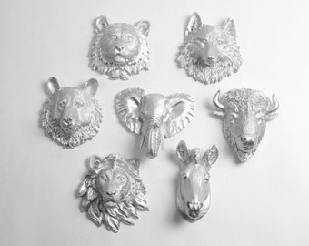 Faux Taxidermy - Create Your Own Zoo - Pick Any Five (5) Silver Miniature Faux Taxidermy Pieces From the Picture to Create Your Own Zoo