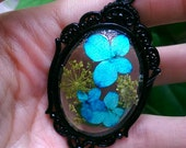 Real Dried Flowers Resin Cameo Necklace // Gothic Frame Pendant Turquoise Encapsulated