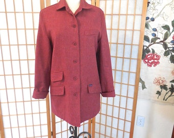 Vintage 80s Rust Plaid Wool Jacket by Faconnable