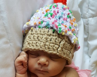 Crochet Cupcake Hat, Crochet Baby Girl Hat, Newborn Photo Prop Hat