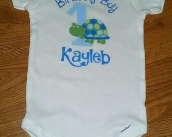Turtle Theme 1st Birthday Boy Onesie or T-Shirt - Personalized