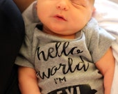 Newborn Baby Boy Clothes Hello World Outfit Bodysuit Onesie, Photo Prop Outfit, Baby Shower Gift, Coming Home Outfit, Personalized
