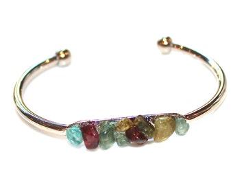 Rainbow Tourmaline Cuff Raw Stone Cuff Tourmaline Bracelet Raw Tourmaline Bracelet Boho Bracelet Boho Cuff Stacking Bangle Modern Bracelet