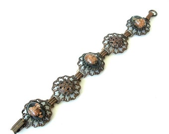 Vintage Bracelet  Antiqued Copper with Resin Cabochons confetti flakes prong set