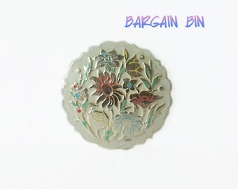Vintage Floral Flowered Brooch Pin enamel like finish Scalloped edge