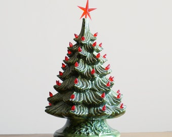 Vintage Ceramic Lit Christmas Tree with Red Lights