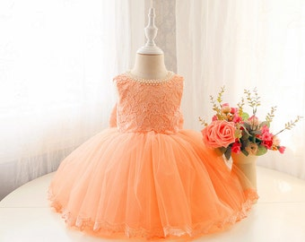 Lace Top Couture Flower Girl Dress, Baby Pageant Dress, Infant Tutu, Toddler Dress for Wedding, PD090-2