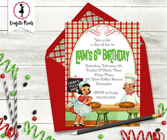 Pizza Birthday Invitation | Kids Cooking Party | Pizza Party Invitation | Pizza Party Invite | Pizza Birthday Party | Pizza Party