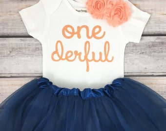 One-derful First birthday outfit girl peach and navy birthday outfit 1st birthday girl outfit Baby girl first birthday outfit Onederful
