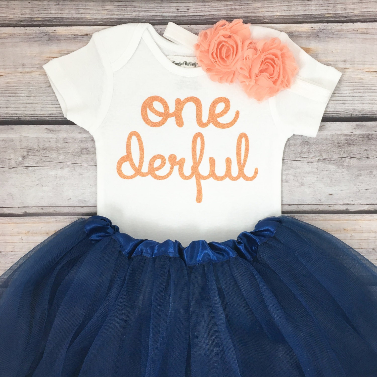 One-derful First Birthday Outfit Girl Peach And Navy Birthday
