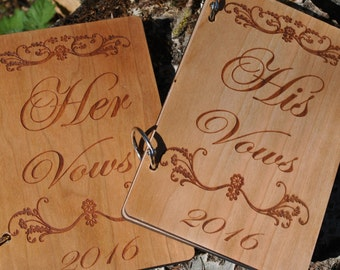 Wedding Vow books - set of two - Laser Engraved with custom etching - Wedding books