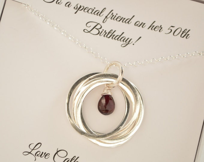 50th Birthday Gift for Her, 5th Anniversary Gift for Women, Garnet Necklace, January Birthstone, Gift for Mom, Garnet Birthstone Jewelry