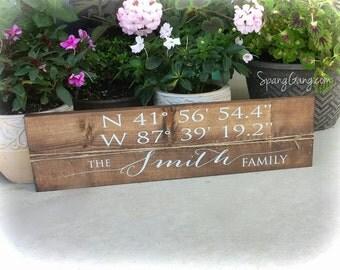 Wood Sign Latitude Longitude// GPS coordinate wood sign//  Pallet Wood sign// personalized wedding established sign // address sign